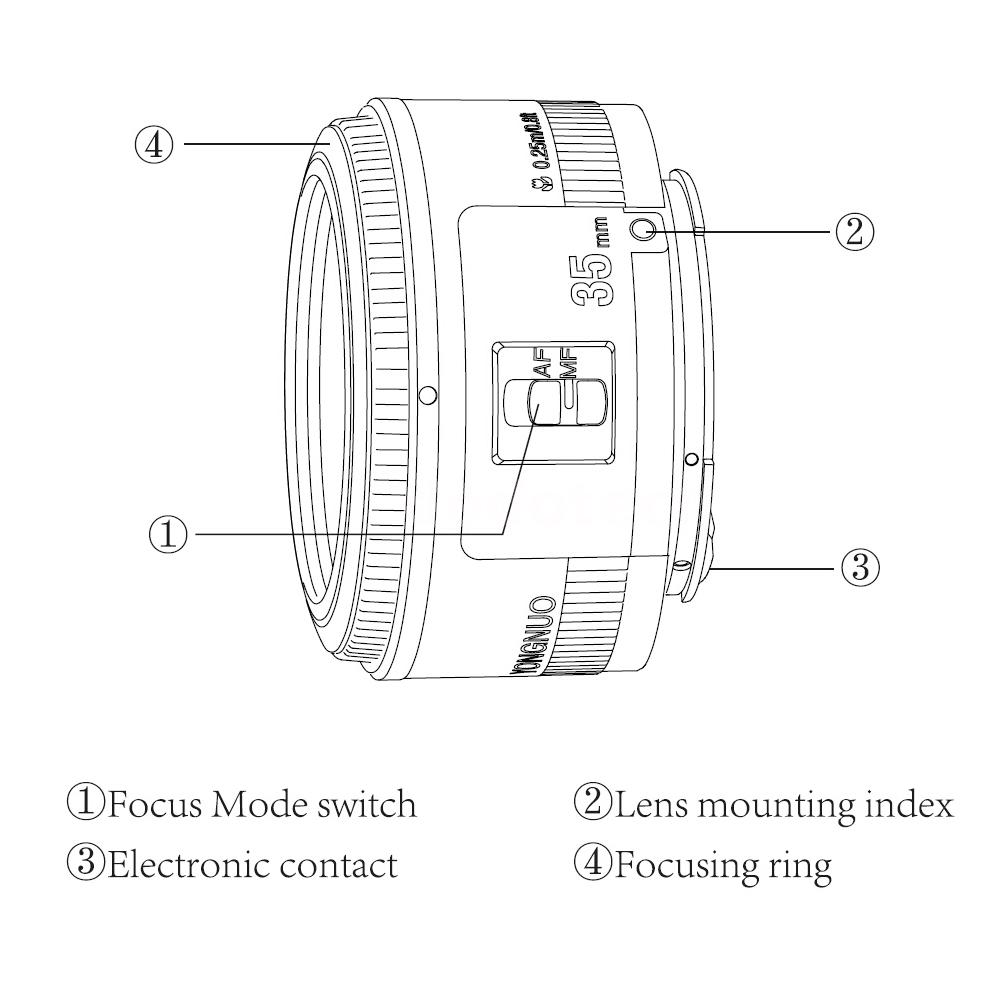 Yongnuo Obiettivo YN-35mm F/2 Auto Focus Lens per Canon EF